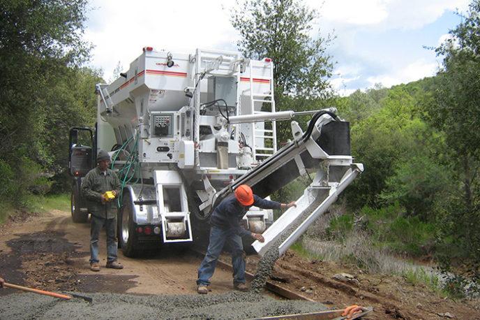 mobile concrete mixer building new road