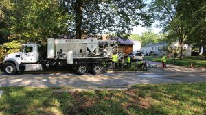 Ballwin Missouri sidewalk install with volumetric concrete mixer