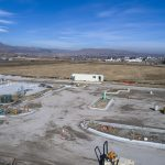 Aerial view of a new hotel parking lot under construction in Littleton, Colorado.
